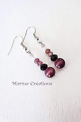 Boucles d'oreilles acier inoxydable, opale prune du Sri Lanka, perles en cristal facetté noir, rose