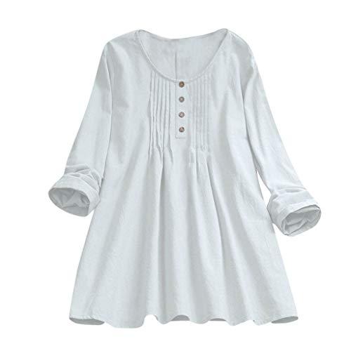 KOKOUK LäSsiges ro-Hemdoberteil Aus Baumwolle Und Leinen Frauen Casual Plus Size Solide Lose Leinen Knopf Tunika Hemd Bluse Tops -