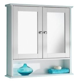 Double Door White Colour Cabinet Mirrored Bathroom Home Furniture Decorative