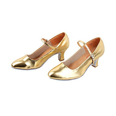 Silence @ Chaussures de danse pour femme moderne/piste de danse en similicuir Chunky Talon Noir/argent/doré doré