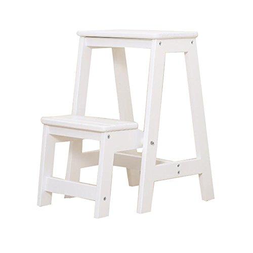 DY Klappleiter Hocker Treppen Massivholz Multifunktions Haushalt Küche Bad Ascend Pedal 2 Schritte, 4 Farben Klappstufen (Farbe : Weiß)