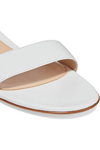 EDEFS Damen Offener Zehe Knöchelriemchen Sandalen Flache Sommer Schuhe Weiß Größe EU44 - 2