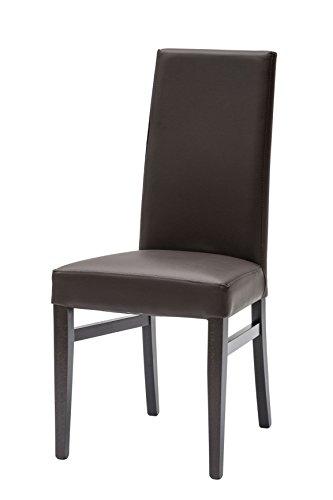 ARREDinITALY -Set 2 sedie sala da pranzo in ecopelle Marrone con ...