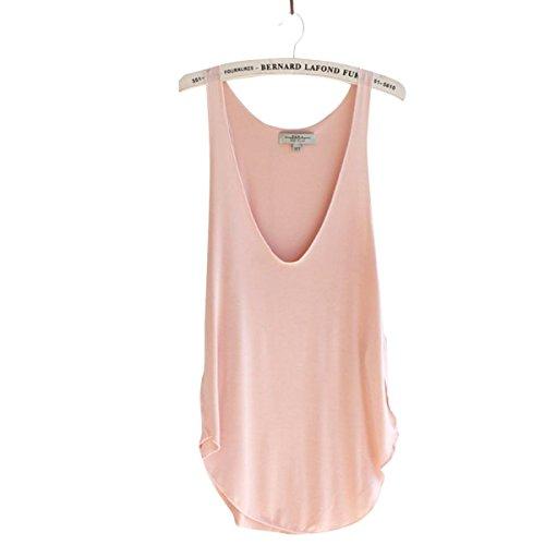 TININNA signore delle donne estate casual Athletic Senza Maniche Vest Canotte T-shirt Camicetta Rosa Rosa