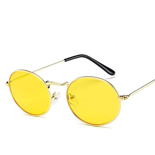 Sonnenbrillen NEW Oval Women Sunglasses Men Glasses Lady Luxury Retro Metal Sun Glasses Vintage Mirror UV400 Oculos De Sol YELLOW