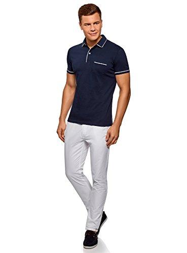 oodji Ultra Herren Poloshirt mit Kontrastbesatz Blau (7910B)