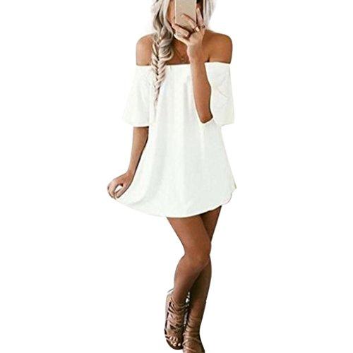 Feixiang vestito da donna, abito abiti vestito da matrimonio damigella d'onore di cerimonia donne casuale pullover t-shirt dress off spalla abito misto cotone s~xl (bianco, s)