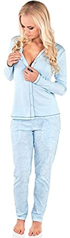 Italian Fashion IF Allaitement Pyjama Femme Luda 0223 (Bleu, L)