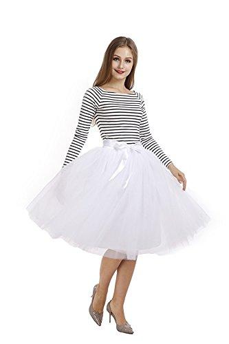 Pulchram Gonna in Tulle 7 Strati Sottogonna Balletti Petticoat Tutu con Cintura per Festa Party Bianco