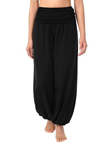 Cassiecy Pantalon Femme Bouffant Fluide Stretch Taille Haute Yoga Pantalon Large Sarouel Pantalon (XXL, Noir)