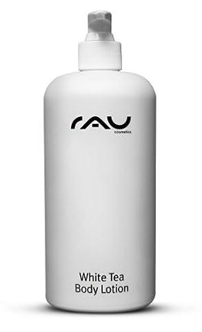 RAU White Tea Body Lotion 500 ml - Hautstraffende Bodylotion - Körperlotion für trockene Haut - Naturkosmetik mit weißem Tee, Aloe Vera, Mandelöl und Cranberry-Öl - Anti-Cellulite- Anti-Falten Körperpflege - Woman, Men