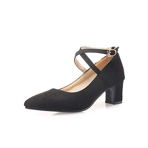 MENGLTX High Heels Sandalen Plus Size 34-48 Neue 2019 Frauen Pumpt Spitz Zehe Frühling Sommer Schuhe Schnalle Quadratische High Heels Kleid Schuhe Frau 14 Schwarz -