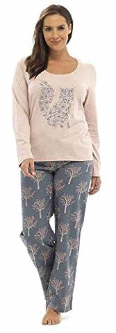Ladies Animal Print Flannel & Jersey Pyjama PJ Set By