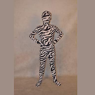 FGDJTYYJ Zentai Anzüge Ninja Fest/Feiertage Halloween Kostüme Weiß/Schwarz Gestreift Zentai Kostüme Kind Lycra, - Schwarz Und Weiß Gestreiften Anzug Kostüm