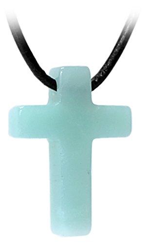 Regali kaltner in pelle collana per uomo e donna con ciondolo a forma di croce in pietra di amazzonite (25mm)