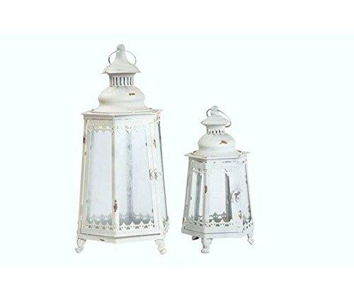 Set 2 Lanternes en fer blanc