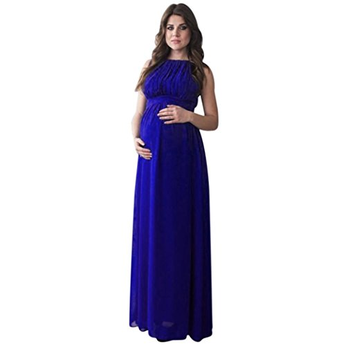 Bellelove Frauen Schwangere SOID Drapieren Fotografie Requisiten Casual Pflege Boho Chic Krawatte Langes Kleid (XL, Blau) -
