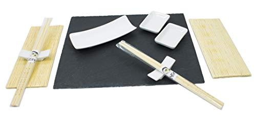 Monti di cose. sushi kit completo. set sushi da 11pezzi composto da vassoio in ardesia, piatti sushi in porcellana. set di bacchette e arelle ombreggianti di bambù