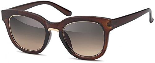 styleBREAKER Nerd Sonnenbrille mit breitem Kunststoff Rahmen und Metall umrandeten Oval...