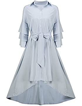 Beauty7 Falda con Volante Manga en Pliegues para Mujeres Vestido Casual de Diseño Irregular con Cinturrón Camisa...
