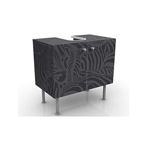 Apalis 53881 Waschbeckenunterschrank Nummer DS3 Zebras schwarz, 60 x 55 x 35 cm -