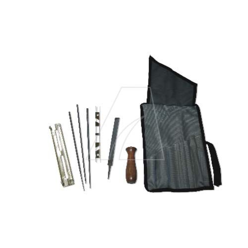 Schärfkit Schärfset in Tasche mit 3 Rundfeilen Feilenlehre Flachfeile und Tiefenbegrenzer
