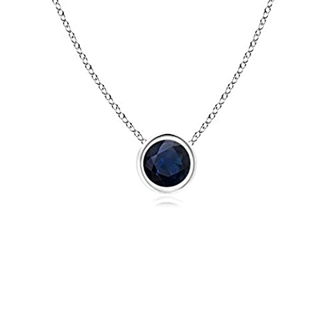 Bezel Set Round Blue Sapphire Solitaire Pendant in 14K White Gold (4mm Blue Sapphire)