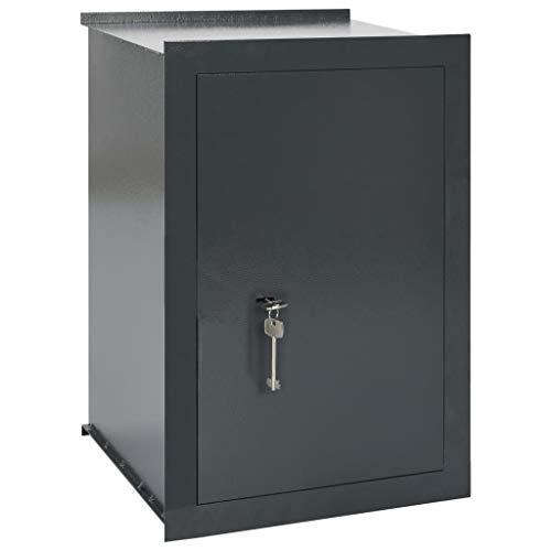 vidaXL Wandtresor Wandsafe Tresor Safe Minisafe Möbeltresor Geldschrank Aktentresor Dokumententresor Dunkelgrau 42x36x60cm Stahl 2 Schlüssel