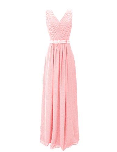 Dresstells, Robe de soirée de mariage/cérémonie/demoiselle d'honneur col V longueur ras du sol avec ceinture Rose