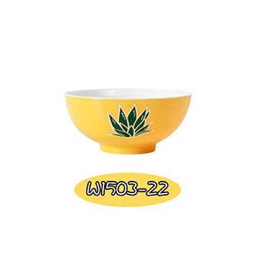 ZHUYU Ceramic Tableware_Pineapple Ceramic Set Doppelohr Reisschüssel Steak Western Food Personality Kreative Frühstückstasse@Gelbe Schüssel