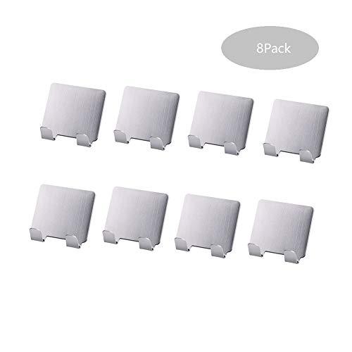 Gizhome Schwerlast-Wandhaken Kleiderbügel 8er Pack 304 Edelstahl Türhaken für Küche Badezimmer Glasfliesen ohne Spuren nagelfrei (Schwerlast-vakuum)
