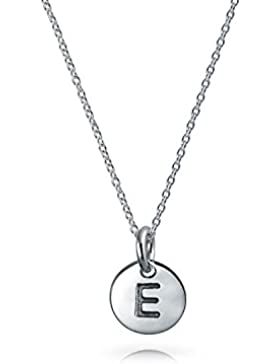 Bling Jewelry 925Silber Petite Buchstabe Disc Anhänger Halskette 18in