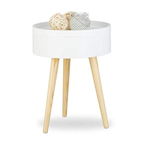 Relaxdays Beistelltisch rund skandinavisches Design, 70er, Nachttisch mit Tablett, Staufach, HxBxT: 50x38x38 cm, weiß