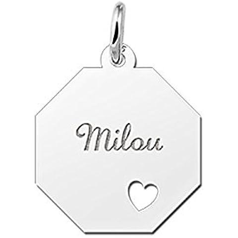 Nome Forever Gourmet collana con pendente da 8rettangolare in argento con incisione del nome e ausgestanztem cuore