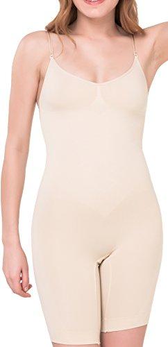 UnsichtBra Damen Figurformender Ganzkörper-Body mit langem Bein Beige