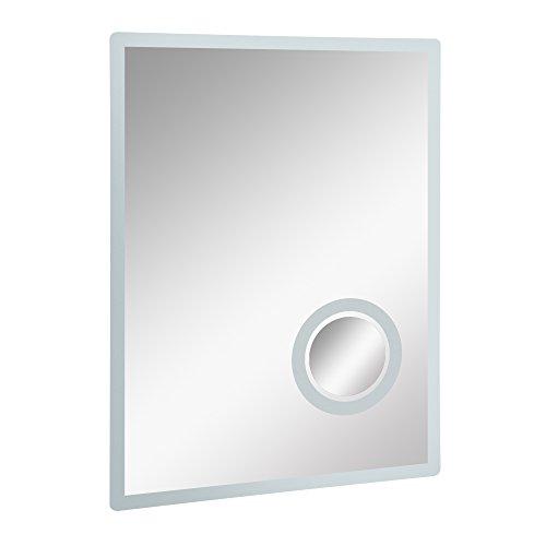 kleankin LED Badspiegel Badezimmerspiegel mit Schminkspiegel Beleuchtung 65W 80x60cm