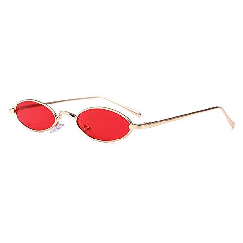 Mxssi Kleine ovale Sonnenbrille für Männer Frauen Retro Metallrahmen Gelb Rot Vintage Sonnenbrille C1
