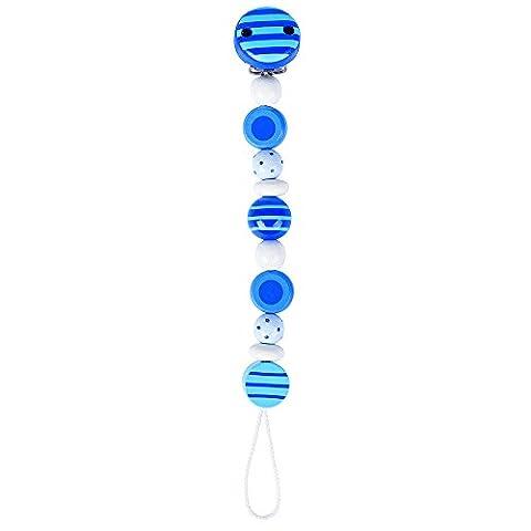 Heimess AccrocheTétine - PerlesRayéesetPointées- Bleu - 21 cm
