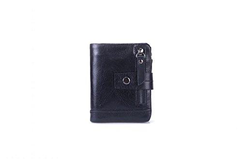 XLDN-Paket Herren Brieftasche Tri-Fold Short Leder Geldbörse Multifunktions-Münztüte First Layer Leder (Color : Black, Size : S) -