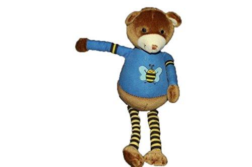 Obaibi / Okaidi - Doudou obaibi okaidi ours marron pull bleu abeille bruit rayure jaune et noir - 3056