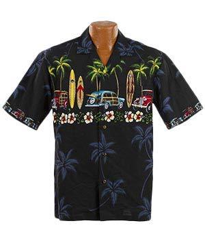 Made in Hawaii Original Hawaiihemd Aloha Shirt Herren Alle Grössen M-7XL Moderne Designs Fronttasche Matching Pocket Hohe Qualität 100% Baumwolle (Classic Woody, XL)