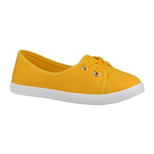 Elara Damen Ballerinas   Bequeme Sneaker Slipper   Schnürer Halbschuhe   sportlich Flats   Chunkyrayan P CL33311 Yellow-40 -