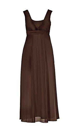 Sheego Damen-Kleid Chiffon-Abendkleid mit Zierelement Braun Braun