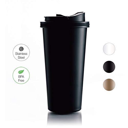 BOHORIA® Premium Edelstahl Kaffee-to-Go-Becher - Isolierbecher - Thermo-Becher - Doppelwandig & Vakuumisoliert - 500 ml - Reise-Becher Kaffee und Tee zum Mitnehmen - Autobecher (Mug Anthrazit)