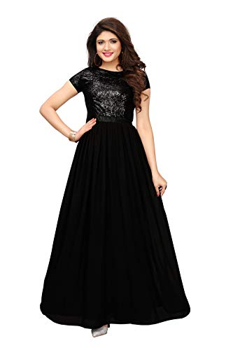 Royal Export Women\'s A-Line Maxi Dress (Sequencee_M_Black_One Size)