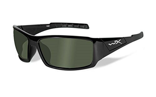 Wiley X Unisex Sonnenbrille Wx Twisted Schwarz (Gloss Black/Polarized Smoke Green), M/L