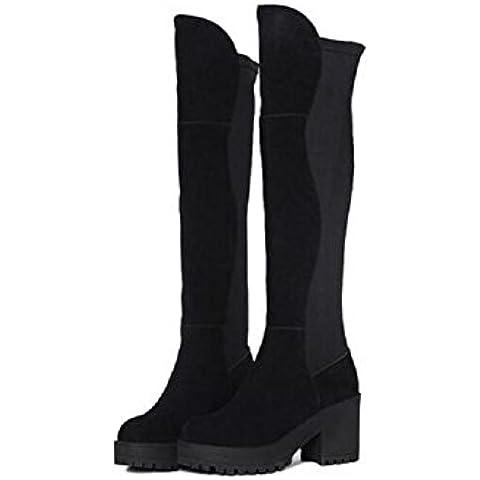 YYH Sopra il tratto ginocchio stivali tacco alto. sottile moda Bootie gamba Casual donna . black . 39