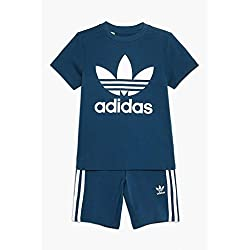 adidas Short Tee Set Apparel Others, Baby-Children, baby-boys, DV2851, Legend Marine/white, 5-6A