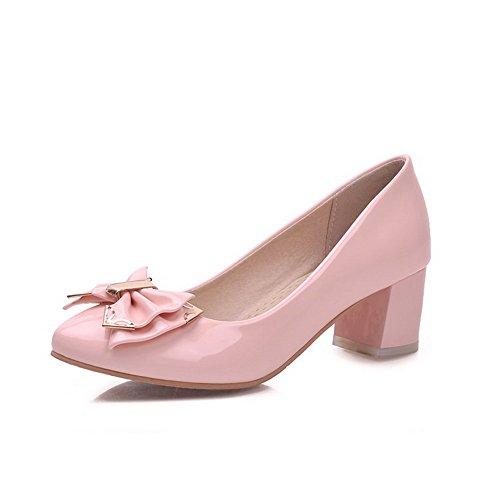 AllhqFashion Femme Couleur Unie Verni à Talon Correct Pointu Tire Chaussures Légeres Rose