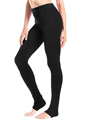 Yogipace Damen 86,4cm Hosenlänge Hohe Taille Göttin Extra Lang Leggings Yoga über der Ferse Legging-Hoch Länge, Damen, Black-Mid Rise, M-Waist(29